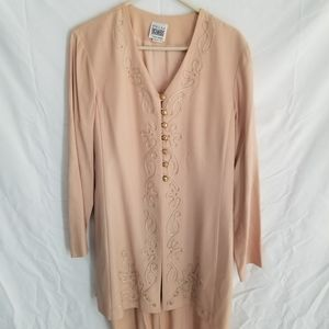 Vintage long sleeve peach dress gold embroidery.